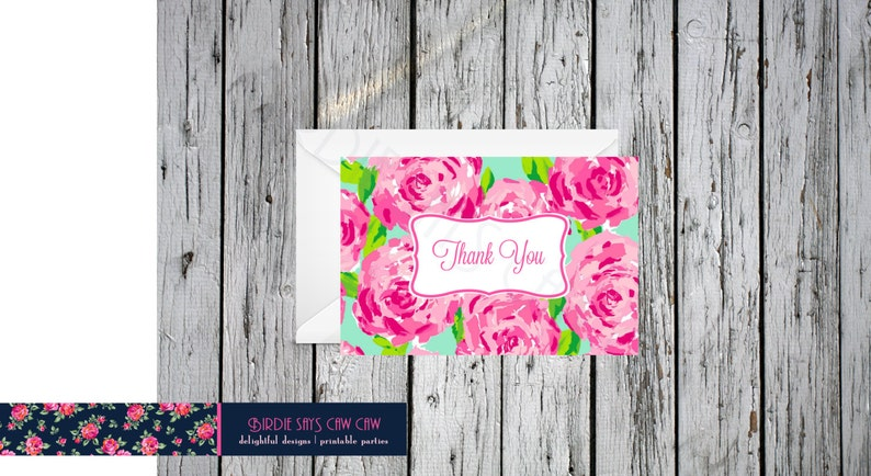 7a4eafe5cbdd0a Lilly Pulitzer First Impression Folded Thank You Note Card | Etsy