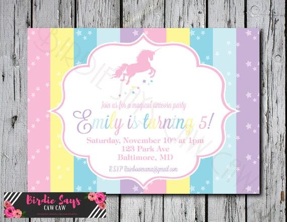 Unicorn Invitation Rainbow Unicorn Birthday Party Invitation Etsy