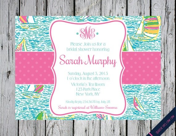 Lilly Pulitzer Baby Shower You Gotta Regatta Monogram
