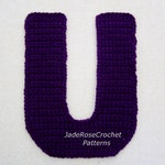 Crochet Letters Patterns U 3D Accent Pillow Alphabet Applique in 5 Sizes