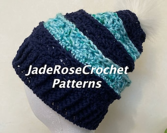 Crochet Slouchy Hat Pattern, Women's PomPom Hat, Elaine's Hat Pattern, Sizes S-L, Crochet PomPom Hat, Crochet Beanie Pattern,  PDF412