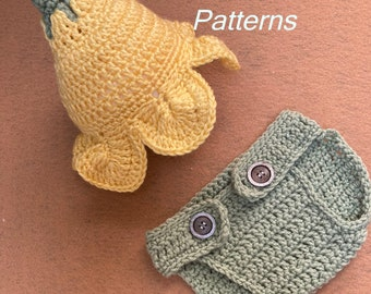 Buttercup Baby Crochet Pattern, Newborn to 6 months, Newborn Photo Prop, Buttercup Infant Hat, Diaper Cover, PDF413
