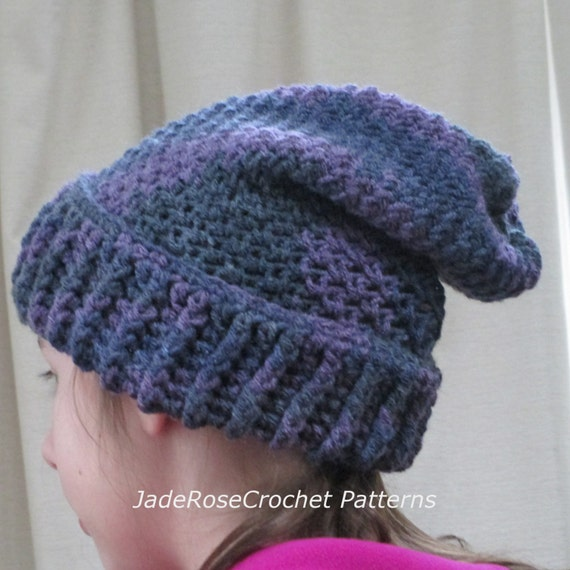 Crochet Slouchy Hat Pattern Ribbed Brim All Sizes Infant To Etsy
