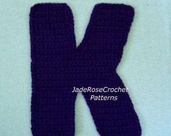 Crochet Alphabet Pattern Letter K  3D Accent Pillow Alphabet Applique in 5 Sizes
