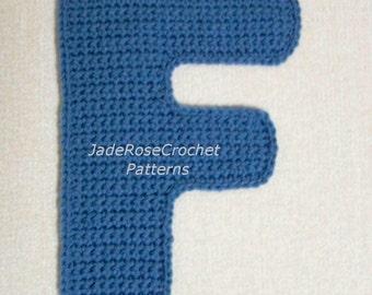 Crochet Letters Patterns F 3D Pillow, Crochet Letter F Applique Pattern, Decorative Accent Pillows in 5 sizes