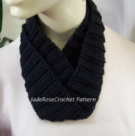 Crochet Scarf Pattern Infinity Scarf Double Wrap Ribbed Cowl Circle Scarf Pdf204