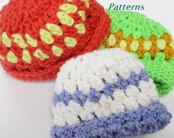 Crochet Premie Hat Pattern in 3 Sizes, Premie Baby Beanies, Premature Baby Hat  PDF12