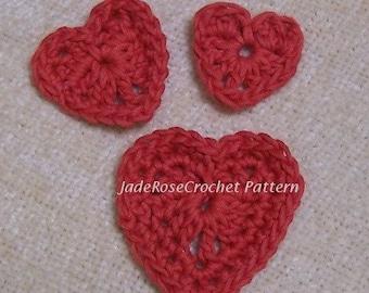 Crochet Heart Pattern, Hearts Appliques, Three Small Hearts PDF302
