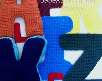 Crochet Alphabet Pattern, Crochet Letters in 5 sizes, 3D Pillows Block Letters, Appliques, All 26 Letters PDF file, Free Plus Sign Pattern