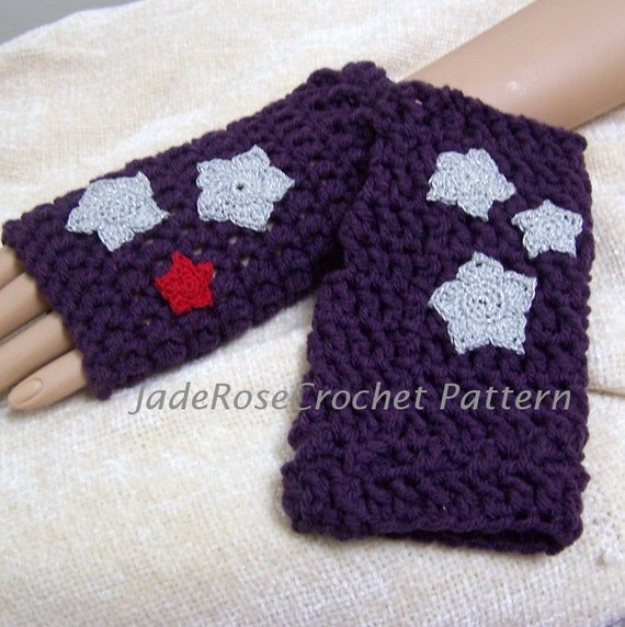 Crochet Fingerless Glove Pattern With Star Appliques Three Etsy
