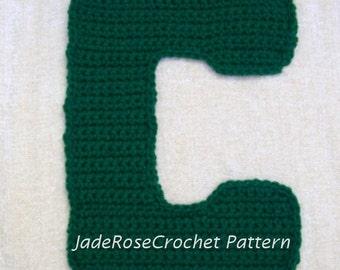 Crochet Letter C Pattern, 3D pillows, 5 Sizes, Appliques, Decorative Accent Pillow, Letter C Pillow Pattern, Letter C Applique, Block Letter