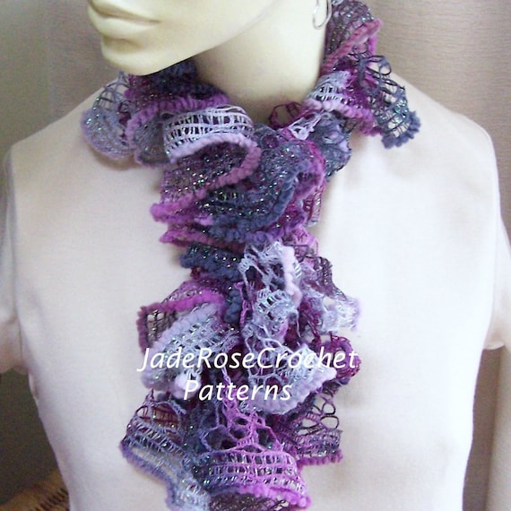 Crochet Scarf Pattern Ruffled Scarf Pattern Long And Frilly Etsy