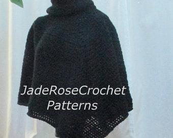 Crochet Poncho Pattern, Cowl Neck Crochet Poncho Pattern, Download PDF 2120
