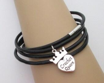 Crochet Queen Wrap Bracelet, Crochet Charm Bracelet,  Leather Wrap Bracelet, Gift for Her, Gift for Crocheter, Free Shipping First Class