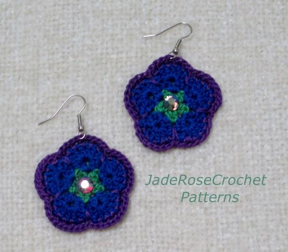 Crochet Pattern African Flower Earrings African Violets Etsy