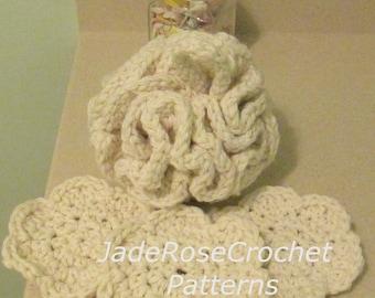Crochet Bath Pouf Pattern, Crochet Flower Exfoliator Pattern, Crochet Spa Patterns, Crochet Exfoliator Pattern, PDF517