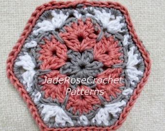 Crochet Hexagon Pattern, Crochet African Flower Pattern, Crochet Home Decor Pattern, Crochet Flower Coaster Pattern, PDF005