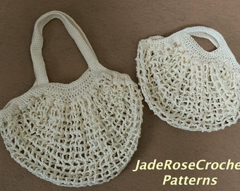 French Market Bag Crochet Pattern, Medium, Small, Bottle Cradle Crochet Pattern, Net Market Bags, Sling Bag for Seniors, Disabled  PDF 522