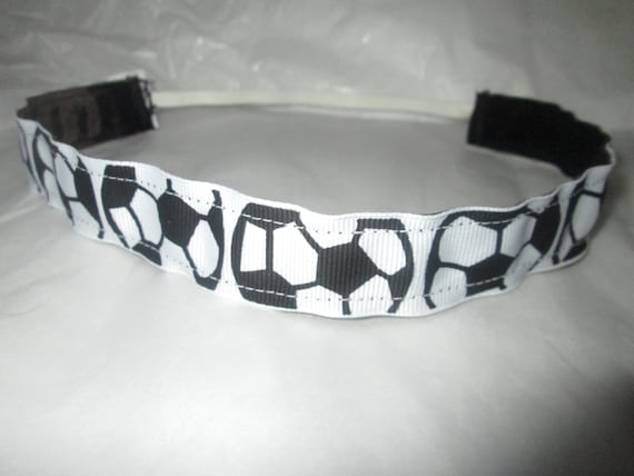 "ADJUSTABLE Non Slip Headband /""Black Soccer/"" Girls Soccer headband by RazzyRoo"