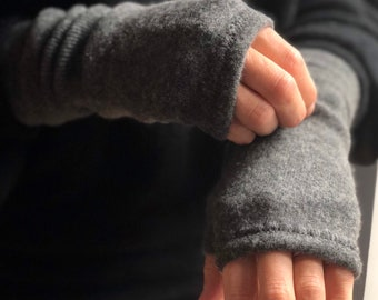 Cashmere Fingerless Gloves - Greys and Blacks (with THUMBS!)