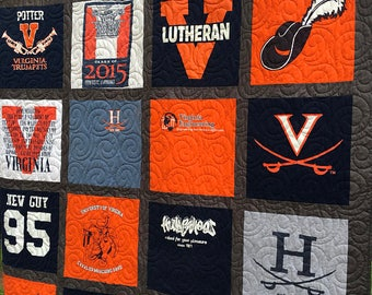 T-Shirt Quilt made from 9-36 shirts - Traditional TShirt Quilt DEPOSIT- Block T-Shirt Quilt - YOU Choose FABRICS