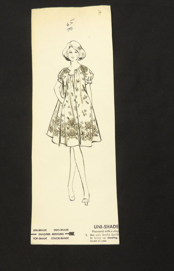 Vintage 1960 S Fashion Design Sketch Flowing Floral Dress Etsy