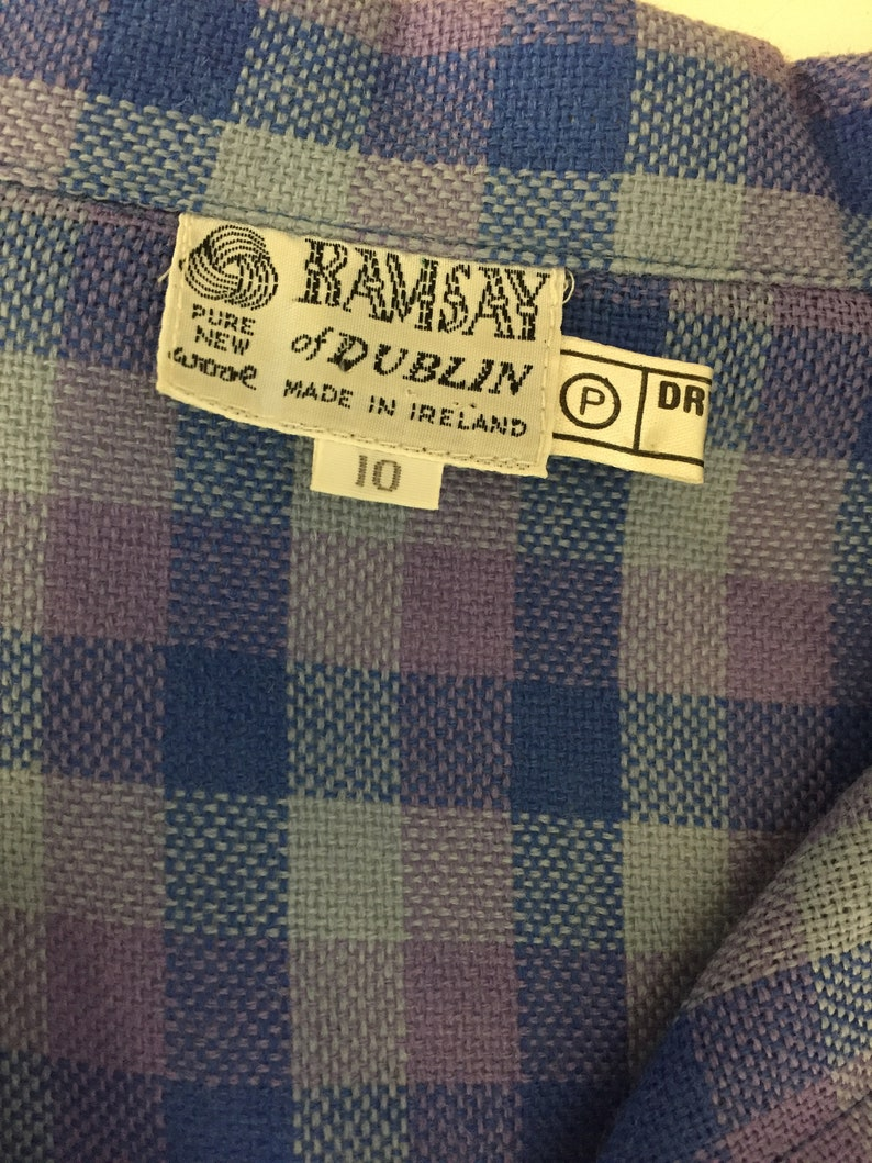 Vintage 1980/'s Purple Checkered House Dress by Ramsay Of Dublin