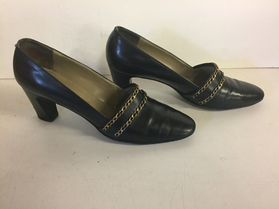 Vintage 1970's Herbert Levi Women's 3 Inch High Heel Black Leather Pumps Brass Braiding