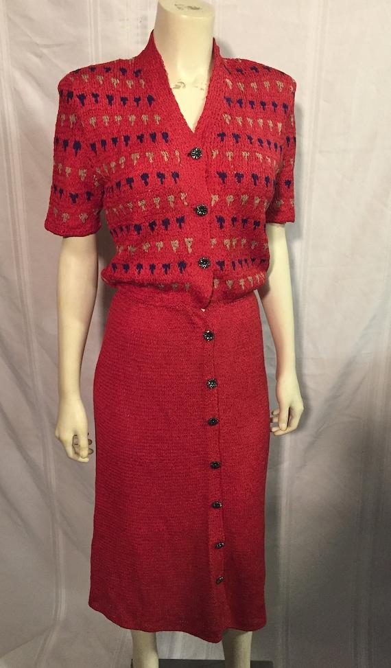Vintage 1940's Red Button Down Crochet Ribbon Knit