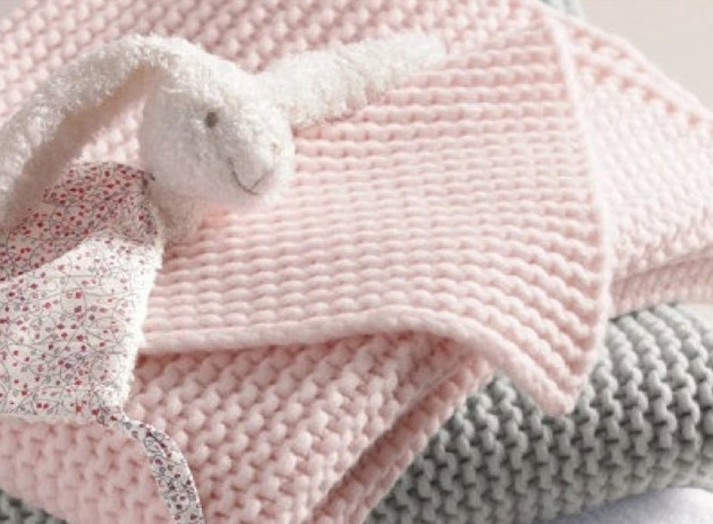 Baby Blanket English Knitting Pattern For Beginners Easy Baby Etsy