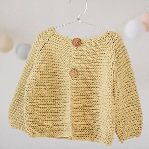 Knitting Pattern Basic Cardigan For Childrens And Babies Etsy