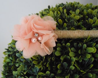 Peach Chiffon Wedding Guest Book Pen / Wedding Flower Pen /  Peach Floral Pen / Rustic Wedding Pen / Shabby Wedding Pen / Decorative Pen /