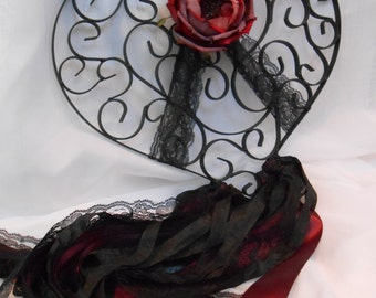 Black Metal Heart Wall Decor / Goth Black Heart Wall Hanging / Valentines Day Heart Decor / Gothic Black Heart / Red And Black Wall Decor