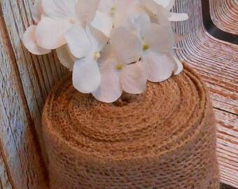 Burlap Wired Ribbon / Rustic Burlap Ribbon / Ribbon Supply / Craft Supply  / Wreath Ribbon / Burlap Wedding / 5 Yards of Burlap