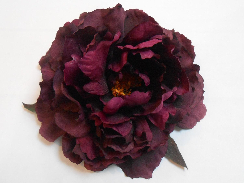 Purple Silk Peony Dark Plum Purple Crafting Flowers Artificial