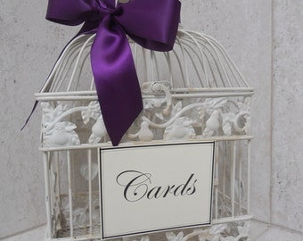 DIY Shabby Ivory Birdcage Wedding Card Holder / Bird Cage Cardholder Wedding Decoration