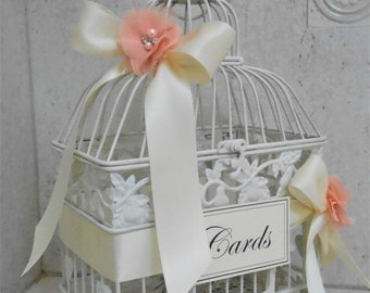 Small Birdcage Wedding Card Holder / Ivory Birdcage Wedding Cardholder / Wedding Card Box / Shabby Birdcage Card Holder / Peach Wedding