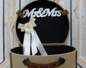 Suitcase Wedding Card Holder / Burlap Box / Rustic Wedding Card Trunk / Card Box / Burlap Wedding Decorations / Shabby Wedding Card Trunk