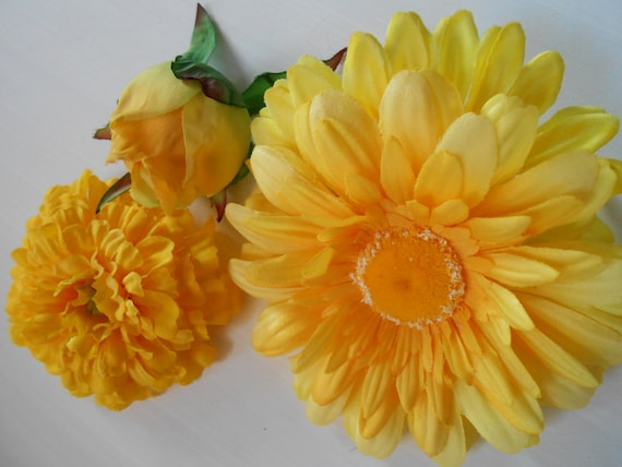 Yellow Silk Flowers Floral Supply Diy Flowers Crafting Etsy