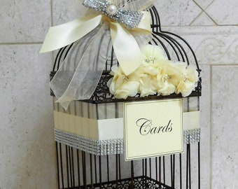 Elegant Birdcage Wedding Card Holder / Wedding Card Box / Glam Wedding Birdcage Decor / Wedding Decorations / Metal Birdcage Card Holder