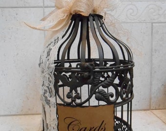 Small Birdcage Wedding Card Holder / Brown Metal Birdcage / Wedding Card Box / Rustic Wedding Decor / Burlap and Lace Wedding Decor