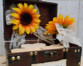 Wedding Wishes Trunk / Sunflower Wishes Box / Sunflower Wedding Decor / Rustic Wishes Box / Wedding Wishes / Wedding Decorations