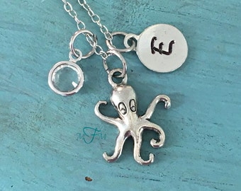 Octopus Necklace, Personalized Necklace, Silver Pewter Octopus Charm, Custom Necklace, Swarovski Crystal birthstone, monogram