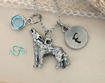 Wolf Charm Necklace, Personalized Necklace, Silver Pewter Wolf Charm, Swarovski birthstone, Animal Charm Necklace