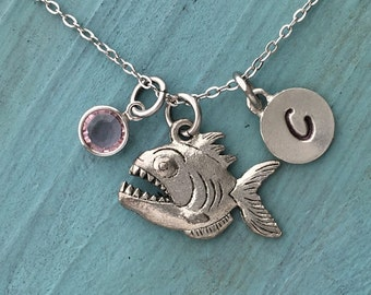 Piranha Necklace, Personalized Necklace, Silver Pewter Pirahna Charm, Custom Necklace, Swarovski Crystal birthstone, monogram