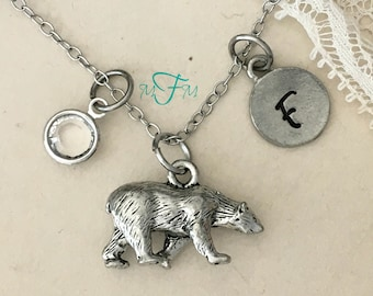 Polar Bear Charm Necklace, Personalized Necklace, Silver Pewter Polar Bear Charm, Custom Necklace, Swarovski Crystal birthstone, monogram