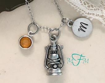 Lantern Charm Necklace, Personalized Necklace, Silver Pewter Lantern Charm, Custom Necklace, Swarovski Crystal birthstone, monogram