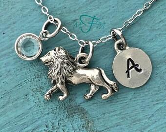 Lion Charm Necklace, Personalized Necklace, Silver Pewter Lion Charm, Custom Necklace, Swarovski Crystal birthstone