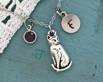 Cat Charm Necklace, Personalized Necklace, Silver Pewter Cat Charm, Custom Necklace, Swarovski Crystal birthstone, monogram