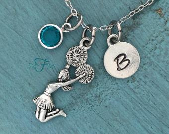 Cheerleader Charm Necklace, Personalized Necklace, Silver Pewter Cheerleader Charm, Custom Necklace, Swarovski Crystal birthstone